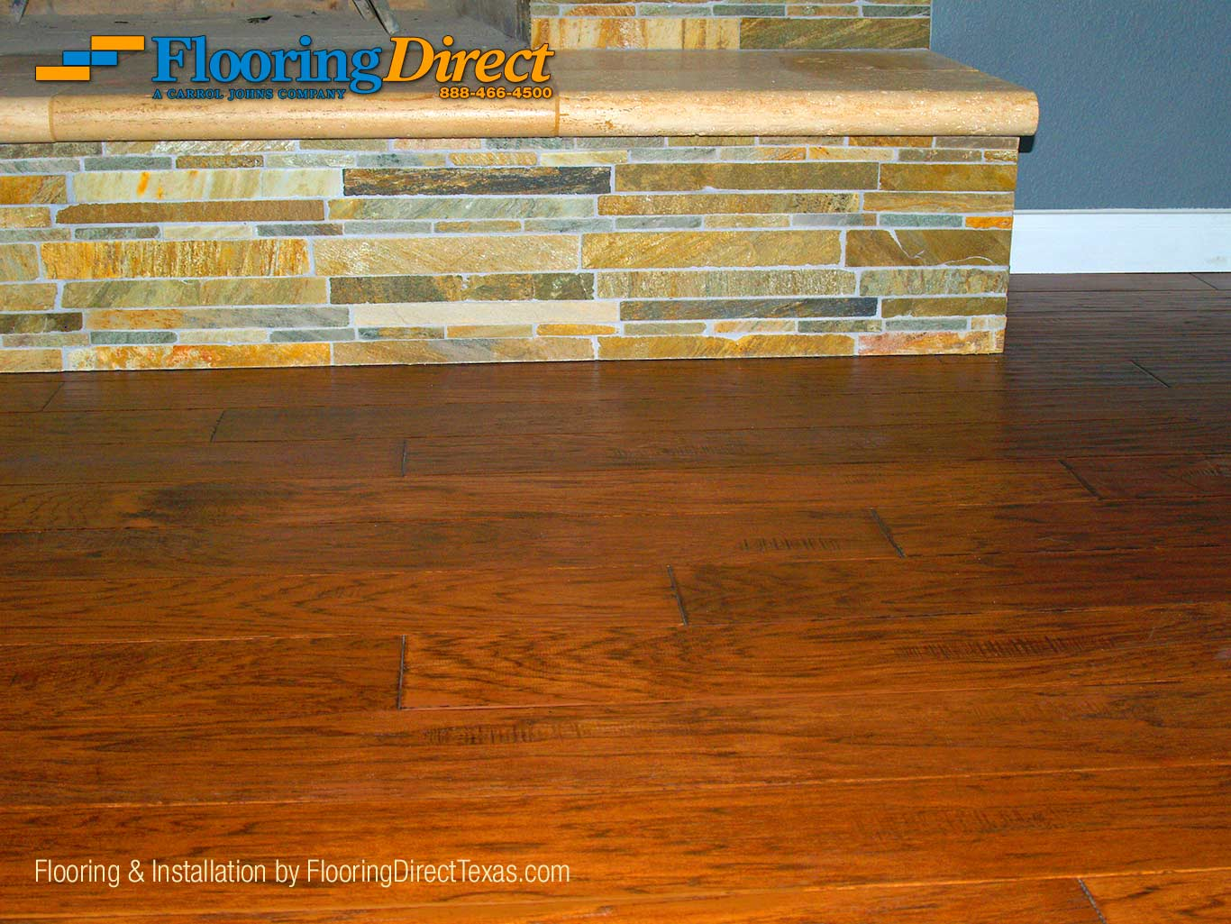 Hardwood Flooring Cut-under Fireplace Close-up