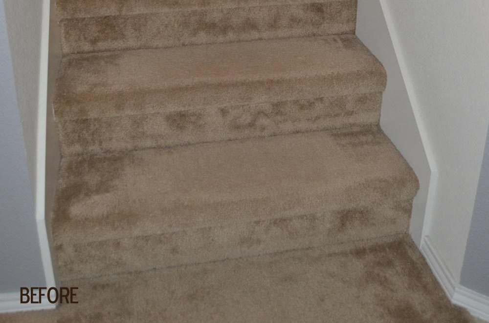 Before picture of stairway with previous carpeting.